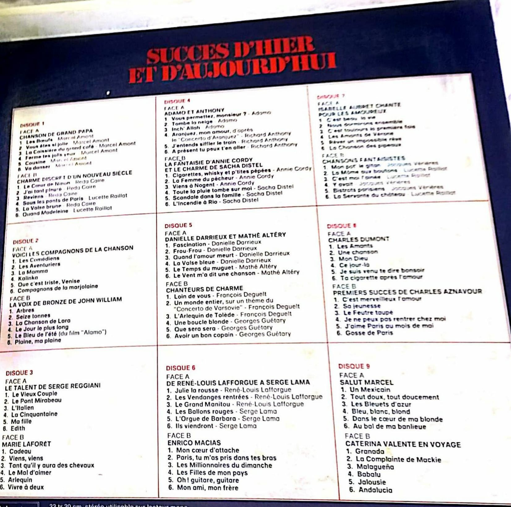 succès d'hier et d'aujourd'hui en disques vinyles | vinyles 33 tours
